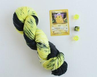 Pika Pika - Pikachu Pokemon - hand dyed yarn - geek yarn - hand dyed sock yarn - sock yarn - indie dyed yarn - speckled yarn - hand painted