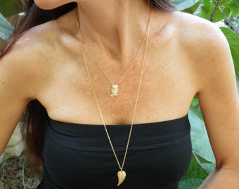 Layered Necklace, Two Tier Gold Necklaces, Owl Jewelry, Woodland Jewelry, Animal Necklace, Long Large Leaf Necklace, Gold Owl Charm Pendant
