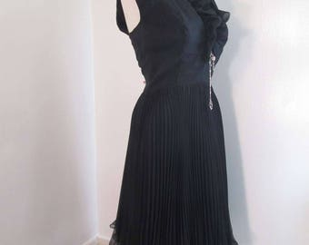 Vintage Black Chiffon dress 60s Perma Pleats frilly ruffled hem Holiday sheer satin 60s Party Dress M