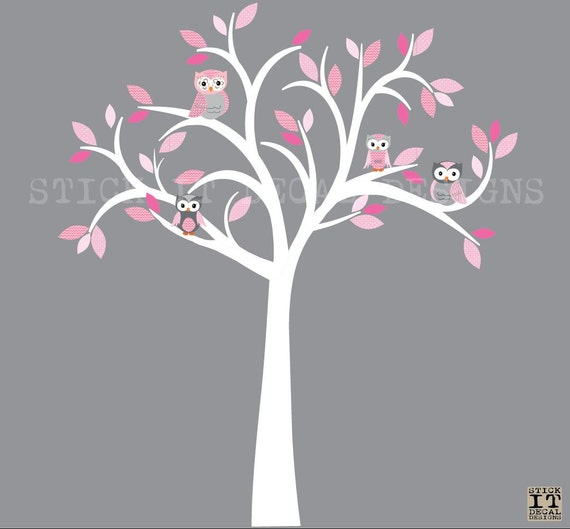Owl decal owl tree wall sticker pink grey owls owl wall decal nursery owl decor shades of pink design with white tree