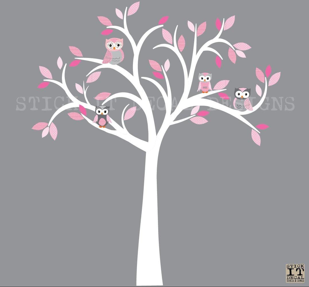 Eule-Aufkleber Eule Baum Wandtattoo Rosa & grau Eulen Eule