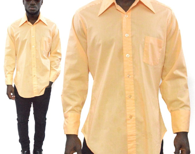 Vintage 80s Sears The Men's Store Button Up Long Sleeve Cream Shirt