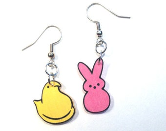 Easter Peeps Chick Bunny Earrings Handcrafted Plastic Earrings Jewelry Accessories Fashion Novelty Unique Gift Gifts for Her