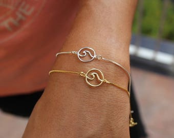 Wave Bracelet, Sea Wave Bracelet, Beach Bracelet, Surfer Bracelet, Ocean Bracelet, Dainty Bracelet, Bracelets For Women, Sea Bracelet