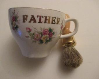 Shaving Mug and Brush, Vintage, Japan, Gold Trim