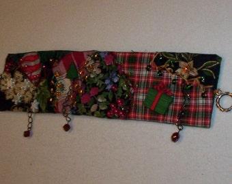 Christmas Crazy Quilt Patchwork Bracelet Cuff