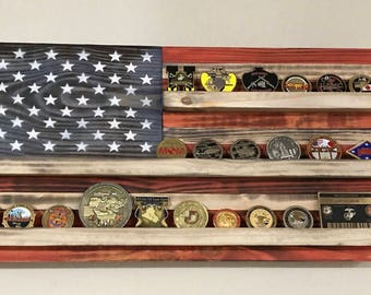 Small American flag challenge coin holder