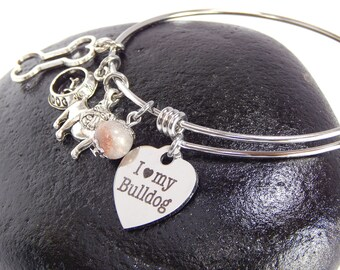 Bulldog Dog Charm Bangle Adjustable Bracelet I Love My Bulldog Bracelet Animal Lover Birthday Gift Womens Jewelry