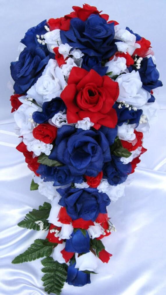 21 pcs wedding silk flowers bouquet bridal package red white mightylinksfo