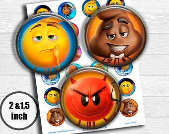 """Emoji the movie Digital Collage Sheet 2"""" 1.5"""" circle clipart Printable Image Download for favor magnets cupcake toppers"""
