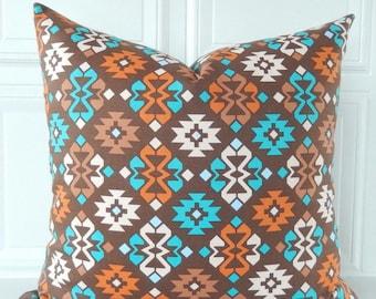 Southwestern Pillow Cover - Brown Throw Pillow - Turquoise Brown Pillow - Orange Brown Pillow - Tribal Pillow - Southwest Pillow