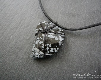 Snowflake Obsidian pendant, rough stone necklace, protection gemstone, Scorpio powerful amulet, volcanic glass, gift for him, men jewelry