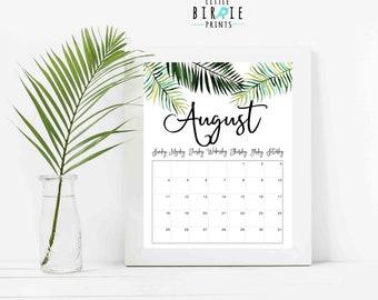 2018 2019 Printable Calendar, Watercolor flowers calendar 2018 Monthly Calendar Botanical Seasonal Calendar 8x10 Instant download 2019