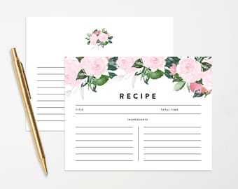 Instant Download - Chic Romance Recipe Cards