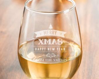 Set of 4 - 15 oz  Merry Christmas Personalized  Stemless Wine Glass  (MICDJM7460894-A15OZ)