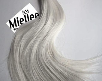 Icy Ash Blonde Weave Hair Extensions | Silky Straight Natural Human Hair | Machine Tied Weft | 1, 2, 3, & 4 Bundle Deals