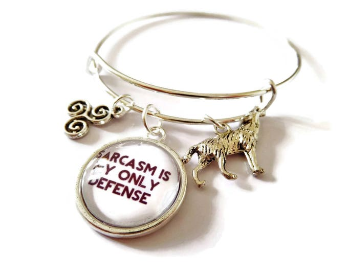 "TEEN WOLF inspired 20mm glass dome "" sarcasm is my only defense "" 65mm silver tone expandable bangle fan gift jewellery Uk"