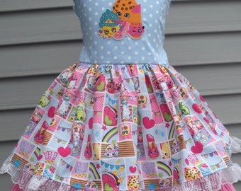 Ready to Ship Custom Boutique Shopkins Ruffle Dress Girl will fit Size 5 or 6