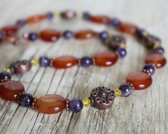 Carnelian, Amethyst and Copper Gemstone Necklace and Earring Set / Jewelry Set / Gifts for Her / Gifts for Women / Copper Necklace / Unique