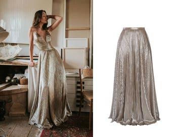 metallic maxi skirt - pleated fabric skirt - gold skirt, silver skirt - floorlength skirt - a-shape skirt - ball skirt - wedding separates