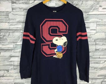 SNOOPY PEANUTS Sweater Medium Blue Snoopy Cool Joe Play Baseball Pullover Cartoon Snoopy Vintage 80's Comic Strip Jumper Sweater Size M