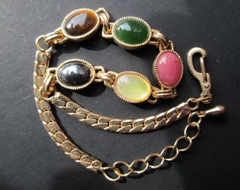 Vintage Multi Colored Cabochon Semi Precious Gold Tone Bracelet MOP Mother of Pearl Jade Hematite Tiger's Eye Lobster Claw Clasp Curb Chain