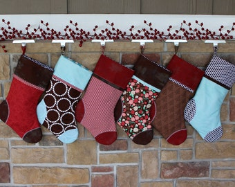 Personalized Christmas Stocking w/ Custom Tag. Into the Woods Gift Idea. Best Quality Christmas Stockings  Red & Brown Stocking sets. Plush.