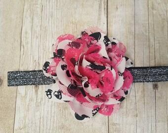 6-12 Month Skull Flower Headband