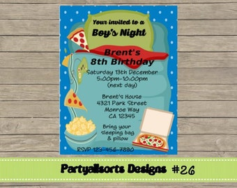 026 DIY - Boys Night/ Sleepover Party Invitation Card.