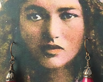 TEMPLE BELLS  Cherry Red JADE Teardrops Unique Boho Dangle Earrings
