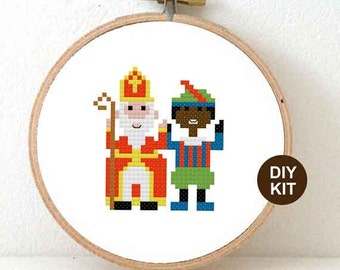 Sinterklaas Cross Stitch Kit. Modern Cross stitch ornaments. Dutch Folk inspired christmas gift. Holiday decoration.