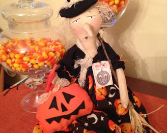 Primitive Halloween Witch Doll with Pumpkin and Broom, Handmade Halloween Witch Doll