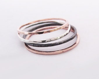 Set of 4 Mixed Rings, Super Thin 1,0 mm Stacking Rings, 925 Sterling Silver Rings, Copper Rings, Oxidized Rings, Thin Dainty Rings