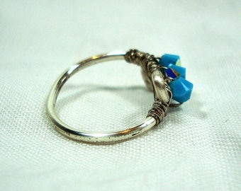 Wire Work Ring - Swarovski Elements - Cyan