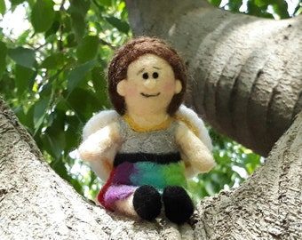 The Rainbow Fairy - Made to order needle felted doll