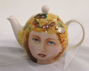 "Teapot Porcelain hand painted ""Butterfly Girl"""
