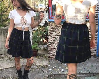 Vintage 1990s plaid pleated uniform pencil skirt ~ size S/M