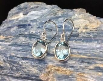 Simple Blue Topaz Earrings // 925 Sterling Silver // Oval Bali Setting