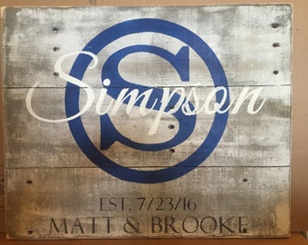 Personalized Wedding Gift, Personalized last name sign, wooden Last Name Sign, rustic wood sign, pallet Name Sign, wedding gift, CIRCLE