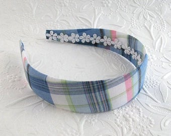 Womens Headband, Preppy Plaid Fabric Covered Plastic Headband for Girls, Tween, Teens, Adults, Women