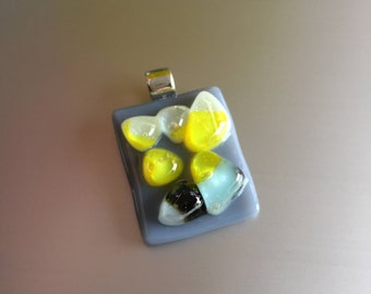 Glass pendant-fusing-jewelry-gift woman-necklace-pendant-Glass pendant-Dutch design-birthday gift-glass art-Italian Baoliglas Grey