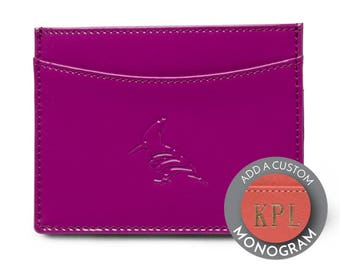 OneOddBird Patent Leather Purple Pipit Card Holder - Personalize, Custom Monogram, Wallet, business card wallet, plum