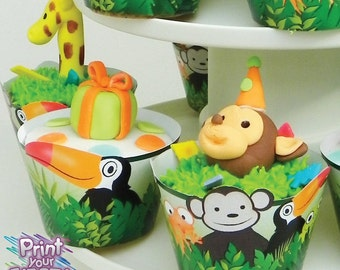 Jungle Party Cupcake Kit by Print Your Fiesta digital party set - cupcake wrappers, circle toppers, monkey, tucan, snake, frog, lizard