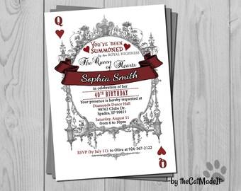 Queen of Hearts - Alice in Wonderland - Alice Invite - Alice Wonderland - Alice Invitation - Queen Hearts - Queen Invitation - Queen Invite