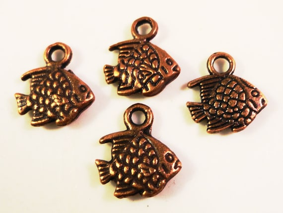 Copper Fish Charms 10x9mm Antique Copper Tone Metal Small Angel Fish Double Sided Charm Pendant Jewelry Findings 12pcs