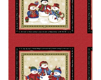 SALE!! One Panel Winter Wishes - Snowman Panel in Taupe and Red Cotton Quilt Fabric - Michele D'Amore - Benartex Fabrics 3480-75 (W362)