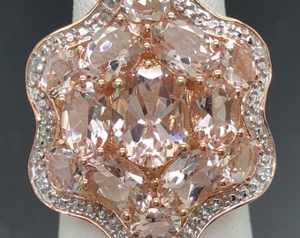 14k Rose gold in Natural Morganite! Sized to fit.