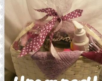 Custom Spa Gift Basket with handmade soaps small