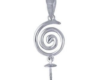 Sterling Silver Swirl Pendant with Pearl Peg