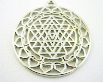 One Silver Tone Sri Yantra Meditation Pendant, 44x39mm, Jewelry Supplies      (1040)